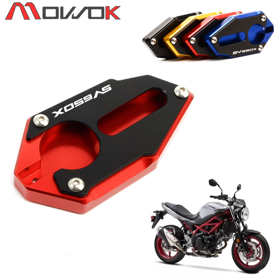 For SUZUKI SV650 SV650X GLADIUS 2009-2017 <font><b>2018</b></font> 20192019 Motorcycle <font><b>CNC</b></font> Kickstand Foot Side Stand Extension Pad Support Plate image