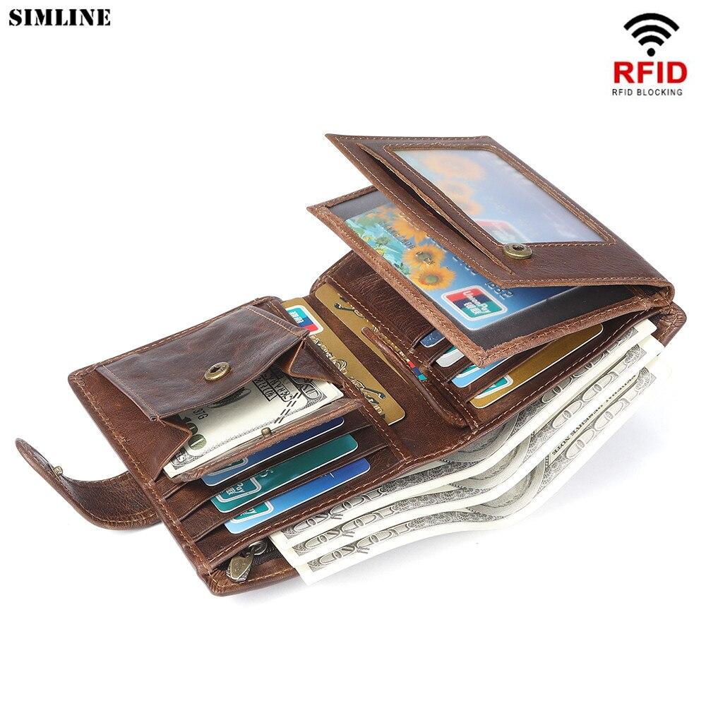 Genuine Leather Men Wallet Vintage Rfid Blocking Mens Short Clutch Wallets Purse With Card ID Holder Coin Pocket Money Bag Male