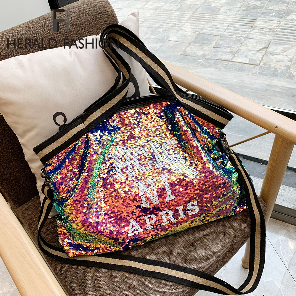 Herlad Fashion Large Womens Handbag Quality Leather Shiny Sequined Female Shoulder Bag Casual Letter Print Ladies Tote Bag SacShoulder Bags   -