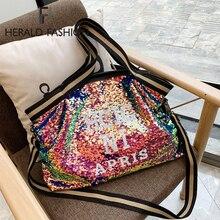 Herlad moda grande bolsa feminina qualidade de couro brilhante lantejoulas feminino bolsa de ombro casual carta impressão senhoras saco