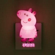 Interruptor dos desenhos animados anime luz led peppa pig noite luz 0.5w lâmpada de mesa decoração do quarto soquete luzes da noite brinquedos para o presente das crianças