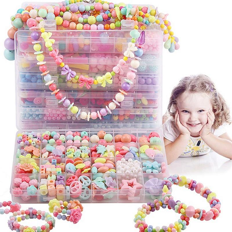 Bricolage à la main perlé fille créative tissage collier Bracelet bijoux faisant de belles perles rondes carrées enfants jouets éducatifs