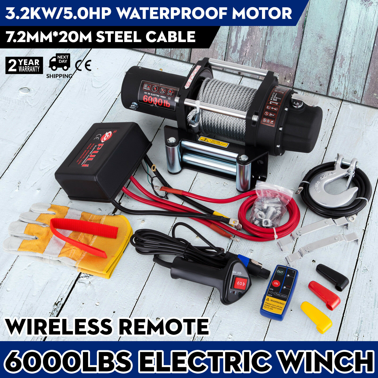 6000lbs/2721kg 12V Recovery Electric Winch Truck Trailer Rope Remote Control|Garment Steamer Parts| |  - title=