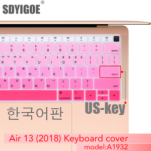 Korean Keyboard cover Protective Film For macbook air 13 inch with touch ID A1932 Notebook Keyboard Cover Silicone U.S.key