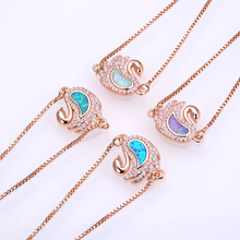KAMAF The new contracted swan ms opal stone charm bracelet DIY jewelry accessories can be adjusted to 22 cm