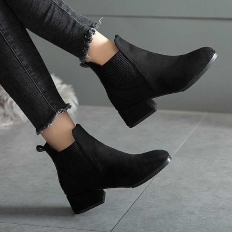 MoneRffi sonbahar kış çizmeler kadın deve siyah yarım çizmeler kadınlar için kalın topuk bayanlar üzerinde kayma ayakkabı botları Bota Feminina 36 -41