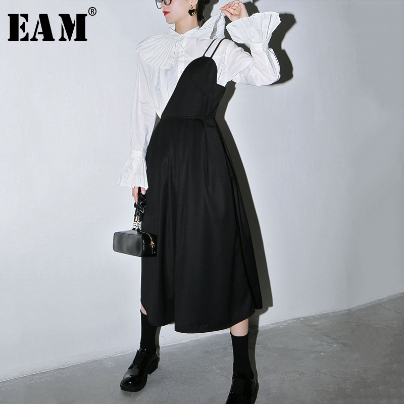 [EAM] Women Black Pleated Split StraplessDress New Onr Shoulder Sleeveless Loose Fit Fashion Tide Spring Autumn 2020 1S620