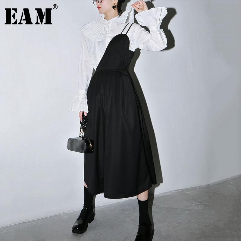 [EAM] Women Black Pleated Split StraplessDress New Onr Shoulder Sleeveless Loose Fit Fashion Tide Spring Autumn 2020 1S620
