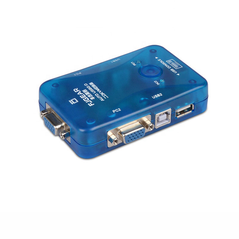 2 Port USB KVM Auto Switch Selector Two In One Out Vga Hotkey Switch 2 Hosts Share A Set Of Mouse And Keyboard Display FJ-102UK