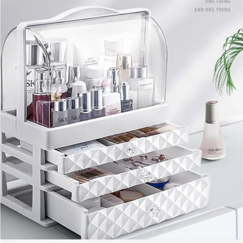 Waterproof Cosmetic Box  Transparent Makeup Jewelry Box Multifunctional Travel Cosmetic Organizer Drawer Home Storage Boxs