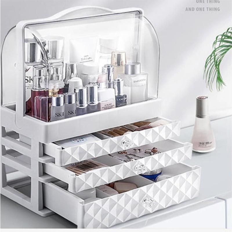 Waterproof Cosmetic Box  Transparent Makeup Jewelry Box Multifunctional Travel Cosmetic Organizer Drawer Home Storage Boxs
