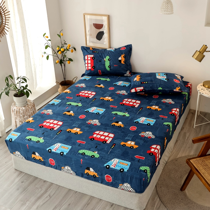 Bonenjoy 3 pcs Fitted Bed Sheets Single drap de lit Geometric Pattern Stitching Mattress Cover with elastic For Double Bed Sheet 25