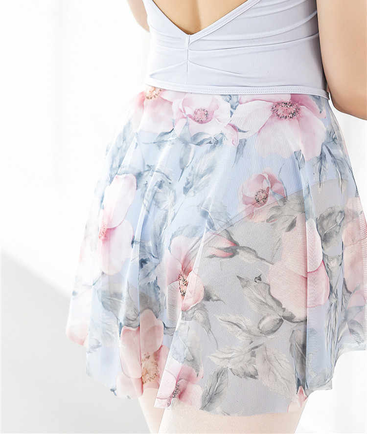 Watercolor Printed Ballet Skirt Dress Adult Female Body Dance Practice Skirts