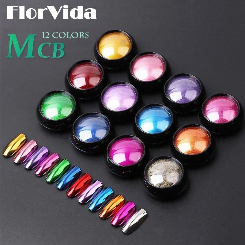 FlorVida 12pcs Set Magic Mirror Glitter Powder Nail Art Pigment Chrome Dusts Rub On Nails Design For Manicure Holographic MCB