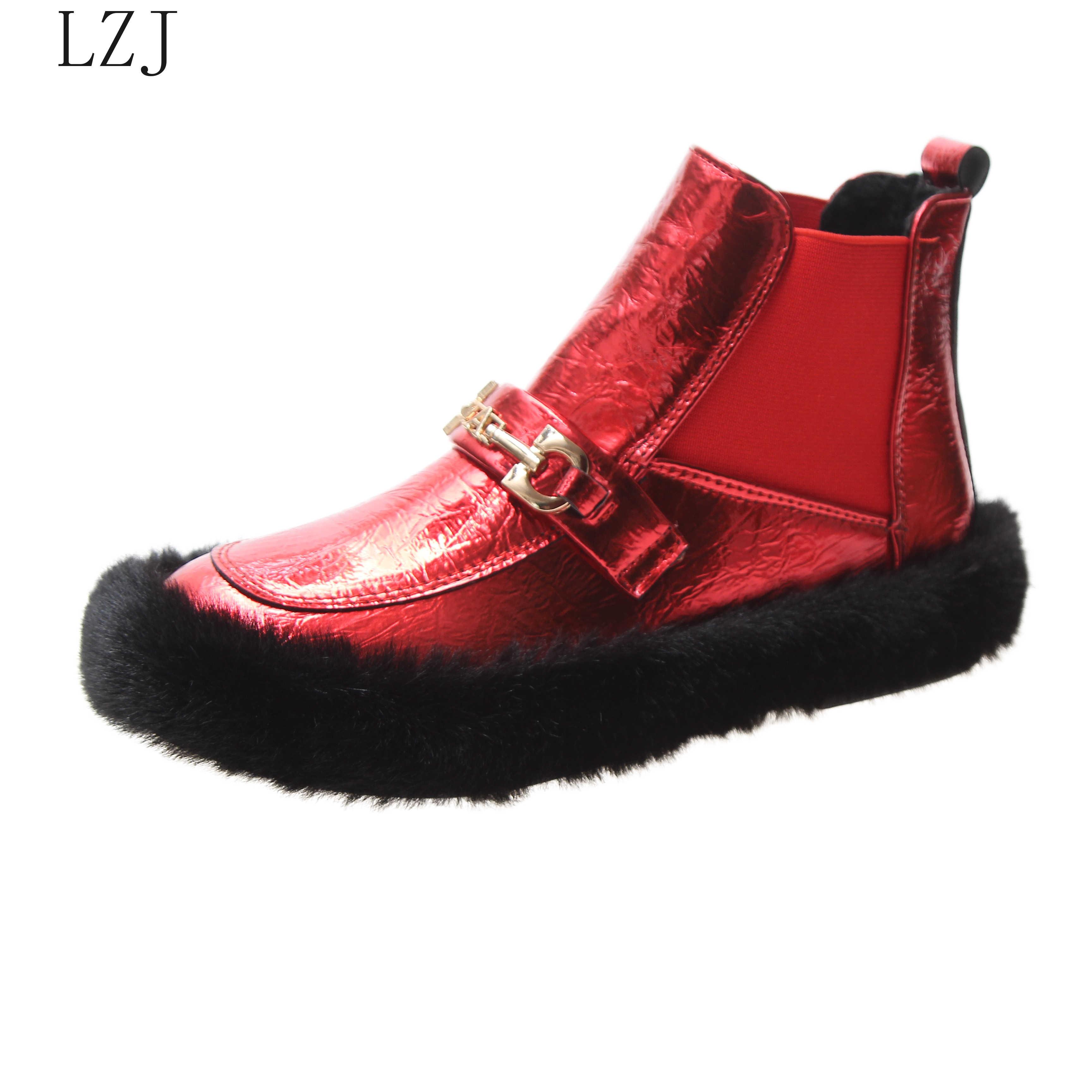 แฟชั่นหนาขนสัตว์ผู้หญิงหิมะรองเท้าบูทรอบ Toe กันน้ำหญิงแบนสูงฤดูหนาวรองเท้าเย็บรองเท้าบูทรองเท้าผ้าใบ