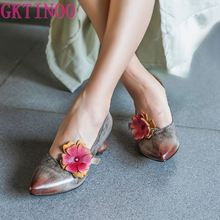 GKTINOO Pumps Women Shoes 2020 New Spring Flower Retro Genuine Leather Strange Style Pointed Toe Slip-on Casual Ladies Shoes msstor buckle off white woman shoes 2018 spring strange style pointed toe women pumps genuine leather ankle boots for women 4cm