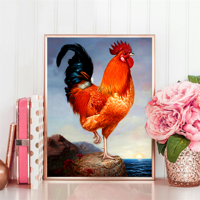 HUACAN Full Drill Square Diamond Painting 5D Cock Mosaic Home Decoration Embroidery Animal Picture Handcraft Art