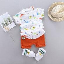 Cute Toddler Boy Summer Set 2020 New Cartoon Dinosaur Print camicia a maniche corte pantaloni per bambini vestiti per bambini 1 4 anni