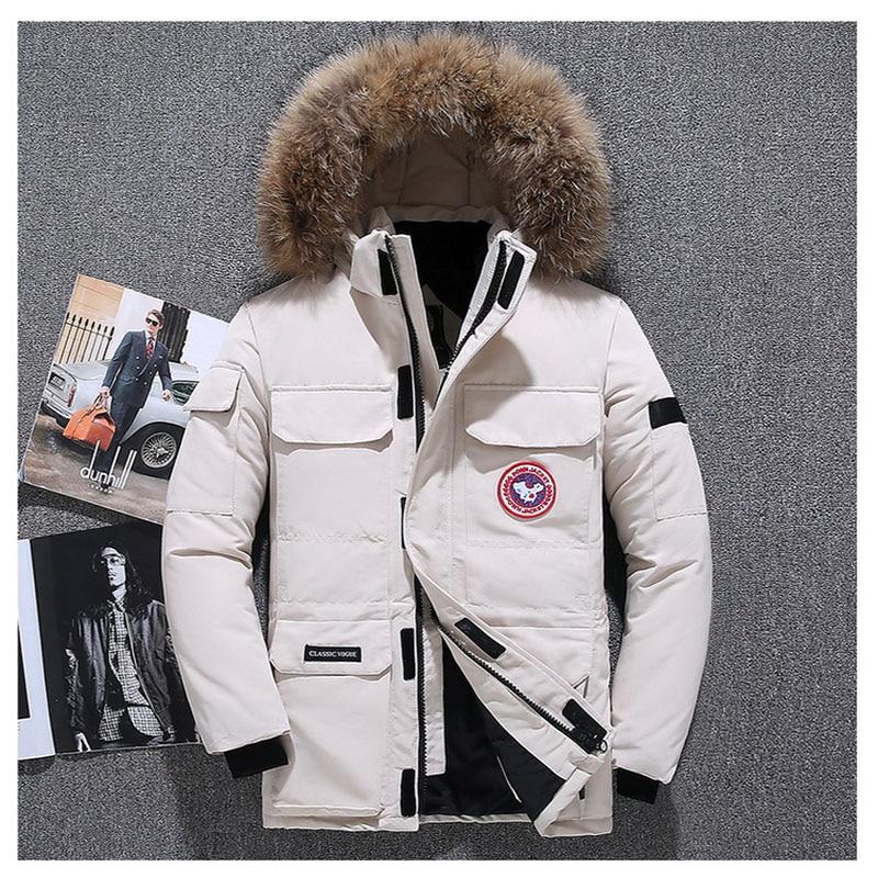 2019 Extreme weather parkas Real fur jacket High quality men's goose jacket parkas -40 Celsius Winter   Down     Coat   Parka