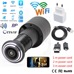 Дверной глазок с отверстием для безопасности 2 Мп HD 2,1 мм объектив широкоугольный Рыбий глаз CCTV сетевой мини глазок Wi-Fi камера P2P TF карта