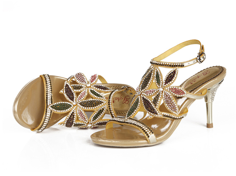 G-sparrow New Large Size Diamond Gold Crystal Wedding High Heeled Sandals Rhinestone Thick Heel Elegant Shoes12