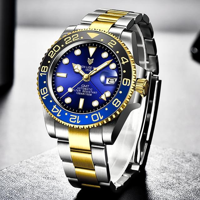 Фото lige новые часы мужские брендовые автоматические механические