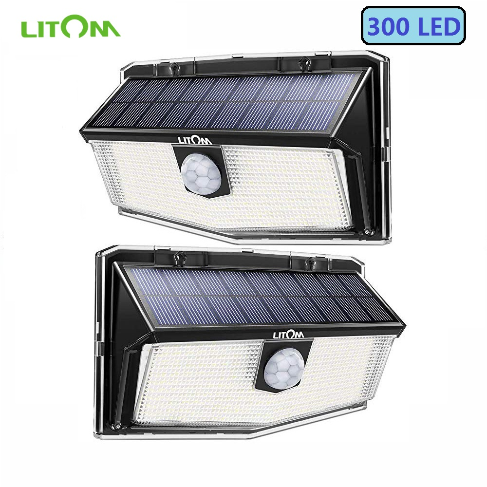 2 Pack LITOM 300 LED Solar Lights Garden Upgraded PIR Motion Sensor Lights IP67 Waterproof 3 Intelligent Modes Solar Wall Lights