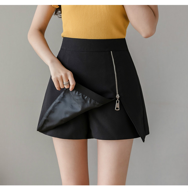 Black Apricot High Waist Irregular Zipper Shorts 2