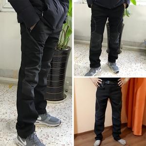 Image 3 - Мужские зимние теплые повседневные брюки, мужские черные толстые флисовые брюки, мужские мягкие брюки, мужские армейские военные водонепроницаемые брюки AM093