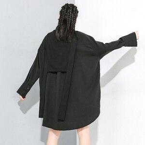 Image 4 - [Eam] feminino preto divisão conjunta tamanho grande duas peças blusa nova lapela manga longa solto ajuste camisa moda primavera outono 2020 1m889