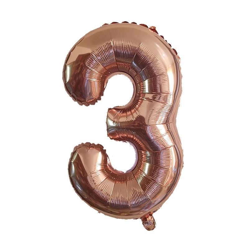 1Pcs 40Inch Nomor 3 Baby Shower Mawar Emas Perak Merah Muda Hitam Digit 3 Helium Balon 3st Pesta Ulang Tahun persediaan Dekorasi Balon