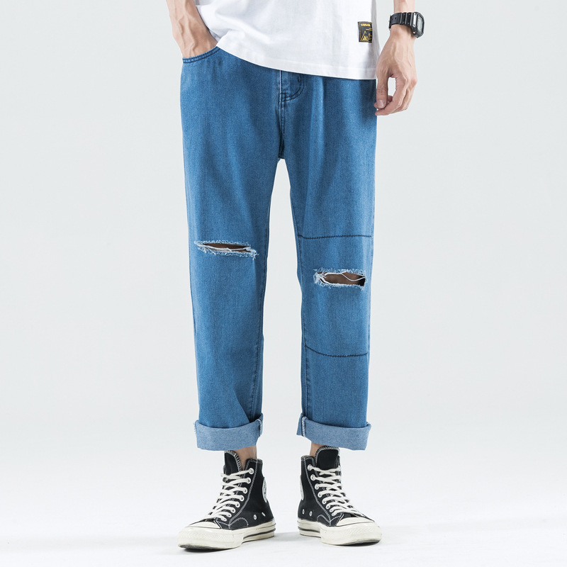 Summer Thin Section Loose-Fit With Holes Jeans Men's Popular Brand Capri Pants Loose Pants Hip Hop Beggar Straight-Cut Rotten Pa