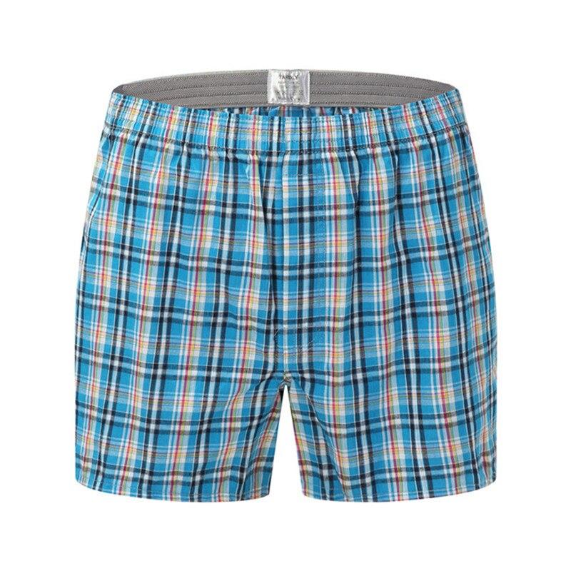 Boxers Shorts Panties Homewear Plaid Loose Comfortable Sleep Cotton High-Quality Brands