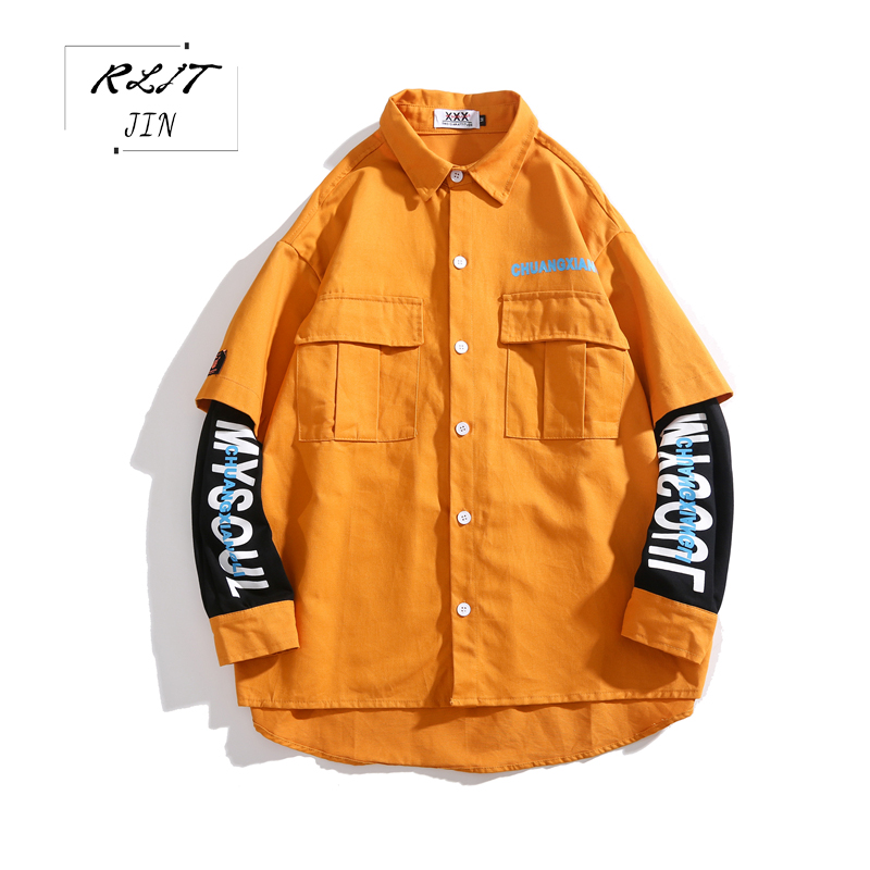 RLJT.JIN New Japanese Casual Mens Shirt High Quality Super Size Pure Color Harajuku Simple Fashion Unique Sleeves Work Man Shirt