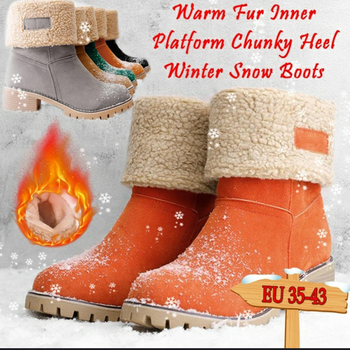 KAMUCC New Women Boots Winter Outdoor Keep Warm Fur Boots Waterproof Women's Snow Boots Thick Heel With Round Head Short Boot 1