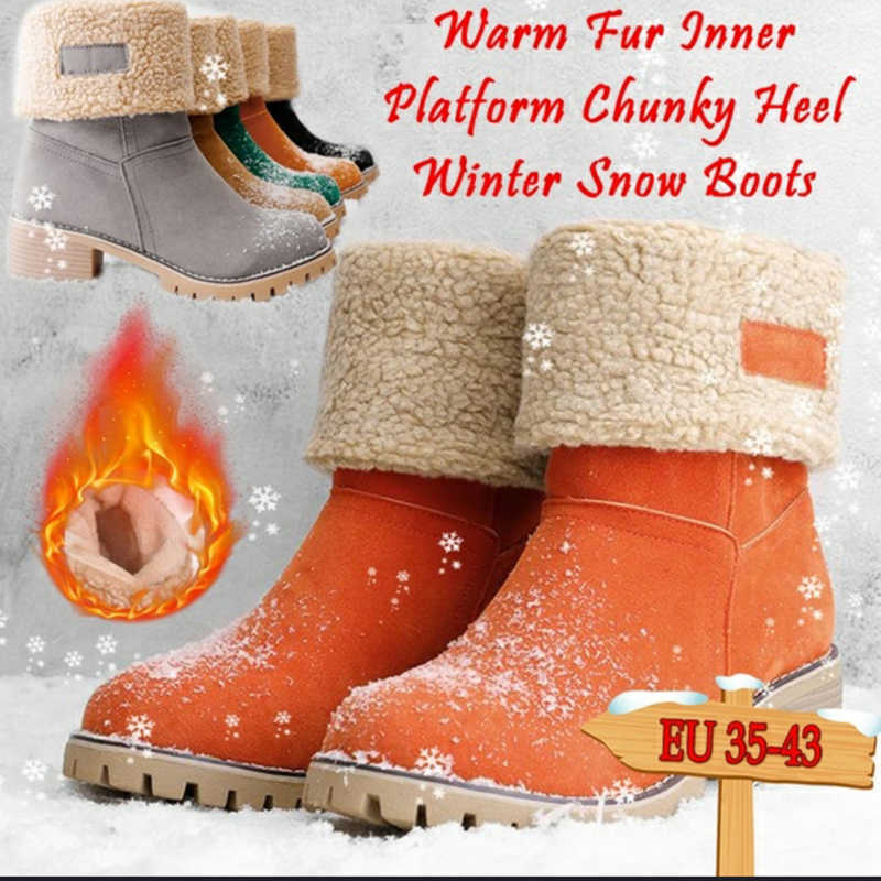 KAMUCC Neue Frauen Stiefel Winter Im Freien Warm Halten Pelz Stiefel Wasserdicht frauen Schnee Stiefel Starke Ferse Mit Runde Kopf kurzen Boot