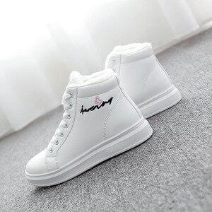 Image 5 - SWYIVY zapatos blancos para mujer, zapatillas de deporte de invierno, zapatos informales de plataforma, botas altas de invierno, botines femeninos, Top alto de piel de felpa 2019
