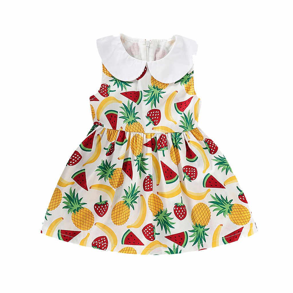 Baby Girl ubrania bez rękawów owoce ananas nadruk arbuz sukienka dzieci słodkie ubrania urodzinowe 0-4Y sukienki dla małej księżniczki