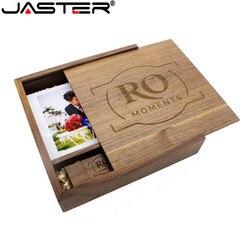 Jaster (1 pcs logotipo livre) fotografia álbum de fotos de madeira usb + caixa pen drive u disco pendrive 8 gb 16 gb 32 gb 64 gb casamento vídeo