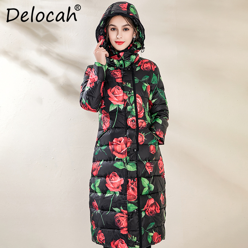 Delocah Women Down Coat Runway Fashion Designer Rose Flower Printed 90% White Duck Down Jacket Winter Warm Hooded Ladys Overcoat