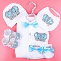 boy baby jumpsuit cotton newborn baby clothes boy 0 3 month rhinestone crown jurken white color jurkje baby pajamas set for boys