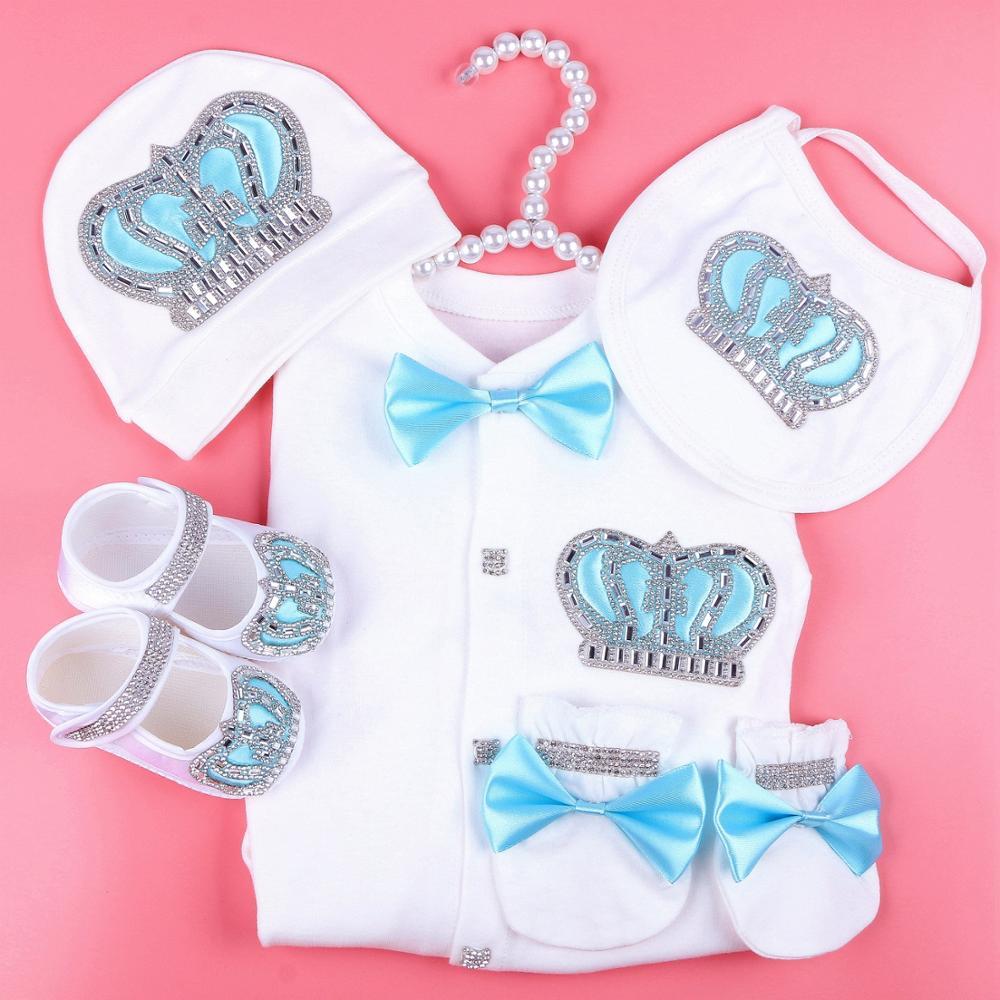 Boy Baby Jumpsuit Cotton Newborn Baby Clothes Boy 0-3 Month Rhinestone Crown Jurken White Color Jurkje Baby Pajamas Set For Boys