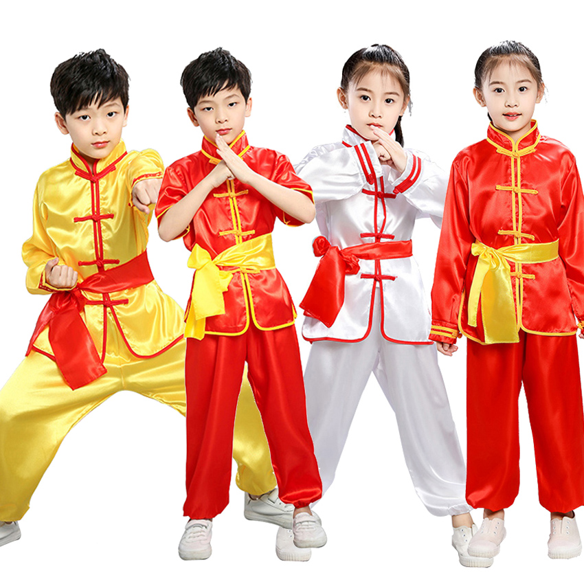 100-180cm Chinese Traditional New Year Costumes Wushu Kung Fu Uniform Children Adult Man Boys Tang Suit Taekwondo Performance