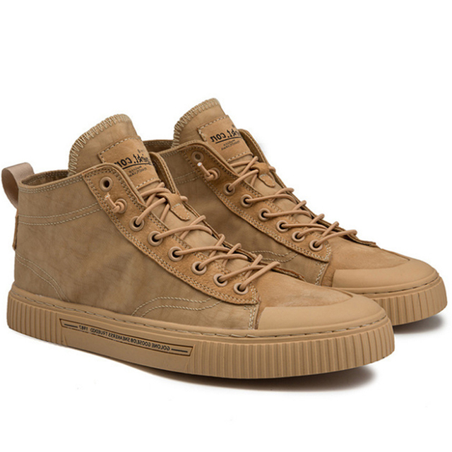 TaoBo High top Casual Shoes for Men Khaki Outdoor Sport Sneaker for Male Size 39 44 Light Weight Anti Slippery Shoes