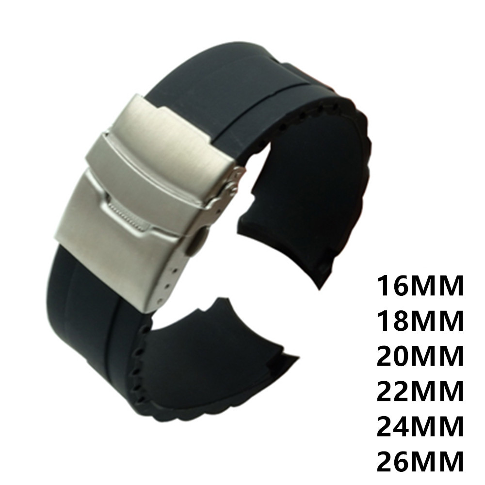 16mm 18mm 20mm 22mm 24mm 26mm Silicone Rubber Diver Silicone Arc Watch Strap With Folding Stainless Steel Clasp Buckle And Tool