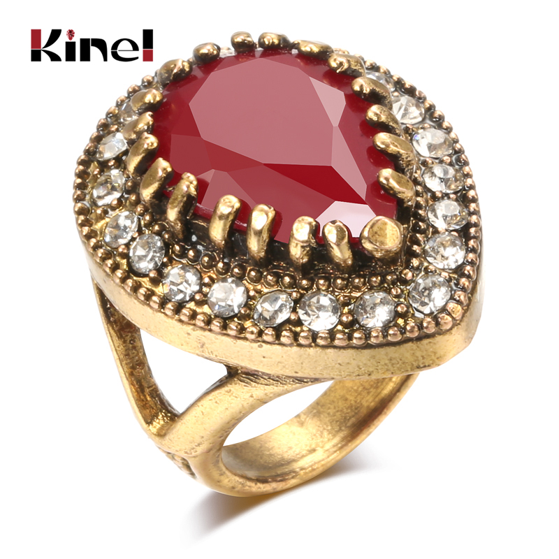 Kinel Hot-Selling Vintage Wedding Rings Antique Gold Big Water Drop Finger Rings For Women Boho Ethnic Engagement Jewelry