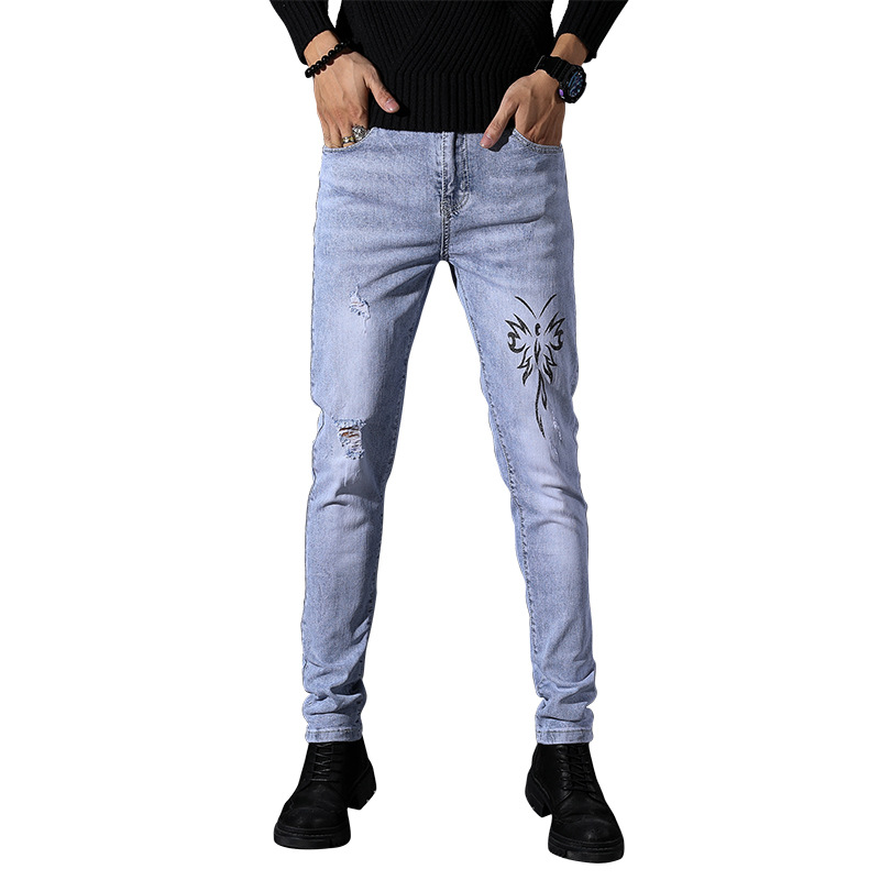 EVES Men's Slim Fit Jeans Stretch Destroyed Ripped Zipper Denim Pencil Pants Print Pattern Sky Blue Skinny Casual Jeans Male