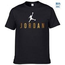 2021 nova camisa jordan masculina de alta qualidade impressa 100% algodão em torno do pescoço manga curta camiseta