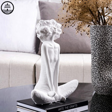 BAO GUANG TA Creative Abstract Girl Figurine Statue Ceramics Figure Art Sculpture Porcelain Craft Modern Home Decoration R5816