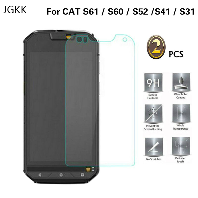 JGKK 2PCS For Cat S52 S60 S61 S41 S31 2.5D Tempered Glass Screen Protector Film For Celular Caterpillar CAT S60 Protective Film(China)